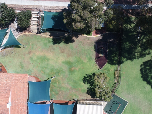 School oval drone footage checking coverage