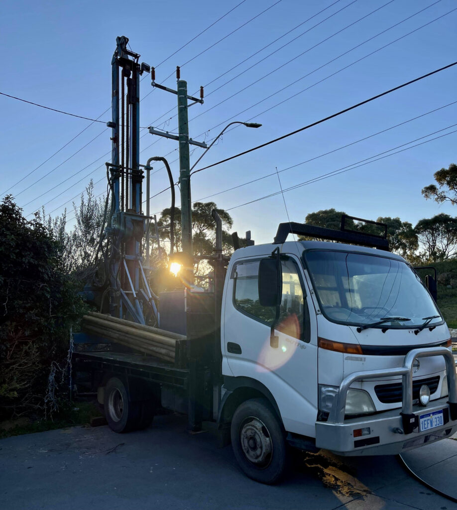 Drilling rig set up to drill new bore in Karrinyup